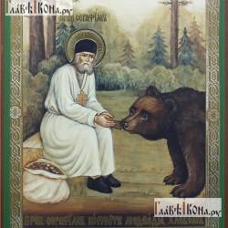 Ковер Икона 527 Серафим кормит медведя  - высокое качество по лучшей цене в Украине