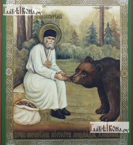 Ковер Икона 527 Серафим кормит медведя