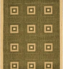 Безворсовая ковровая дорожка Sisal 012 green-cream