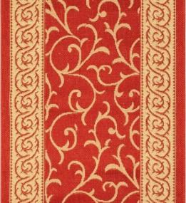 Безворсовая ковровая дорожка Sisal 014 red-cream
