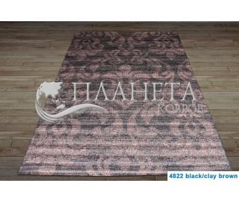 Безворсовый ковер Vintage 4822 black-clay brown - высокое качество по лучшей цене в Украине