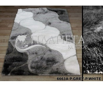 Высоковорсный ковер Therapy 6663A p.grey-p.white - высокое качество по лучшей цене в Украине