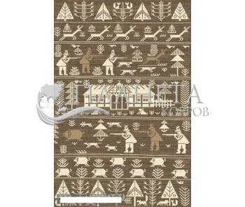 Шерстяной ковер Folk Polowanie Beż - высокое качество по лучшей цене в Украине