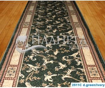 Синтетическая ковровая дорожка Super Elmas 2511C d.green-ivory - высокое качество по лучшей цене в Украине