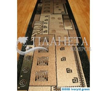 Синтетическая ковровая дорожка Super Elmas 3055B ivory-d.green - высокое качество по лучшей цене в Украине