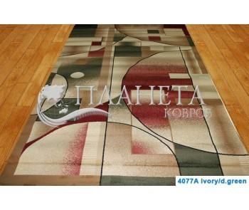 Синтетическая ковровая дорожка Super Elmas 4077A ivory-d.green - высокое качество по лучшей цене в Украине