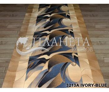 Синтетическая ковровая дорожка Super Elmas 3213A ivory-blue - высокое качество по лучшей цене в Украине