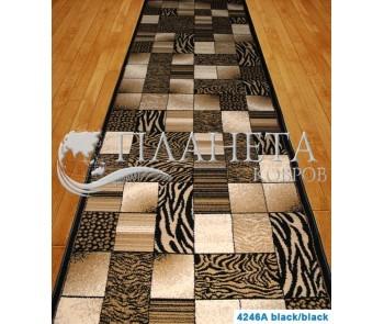 Синтетическая ковровая дорожка Super Elmas 4246A black-black - высокое качество по лучшей цене в Украине