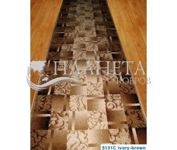 Синтетическая ковровая дорожка Super Elmas 5131C ivory-brown - высокое качество по лучшей цене в Украине