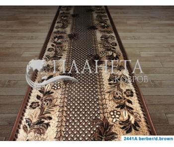 Синтетическая ковровая дорожка Tabriz 2441A berber-d.brown - высокое качество по лучшей цене в Украине