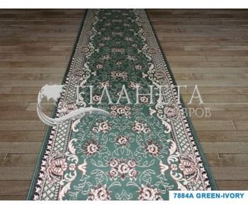 Синтетическая ковровая дорожка Tabriz 7884A green-ivory - высокое качество по лучшей цене в Украине