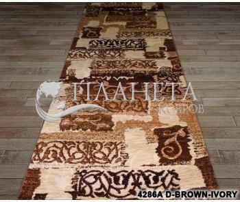 Синтетическая ковровая дорожка Tutku 4286A d.brown-ivory - высокое качество по лучшей цене в Украине