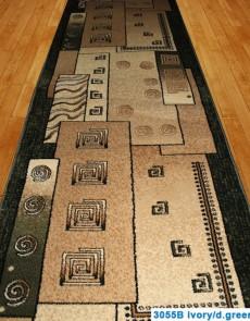 Синтетическая ковровая дорожка Super Elmas 3055B ivory-d.green - высокое качество по лучшей цене в Украине.