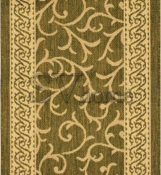 Безворсовая ковровая дорожка Sisal 014 green-cream - высокое качество по лучшей цене в Украине.